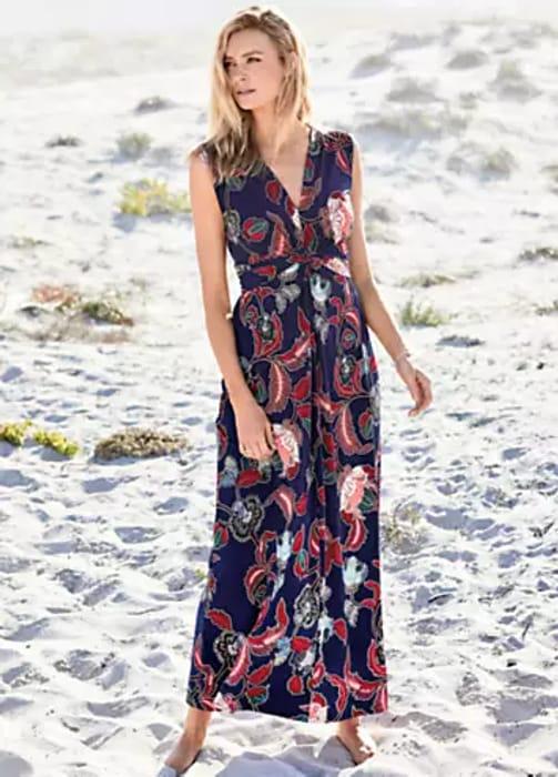 Kaleidoscope Batik Floral Knot Front Maxi Dress (Size 8 & 10)