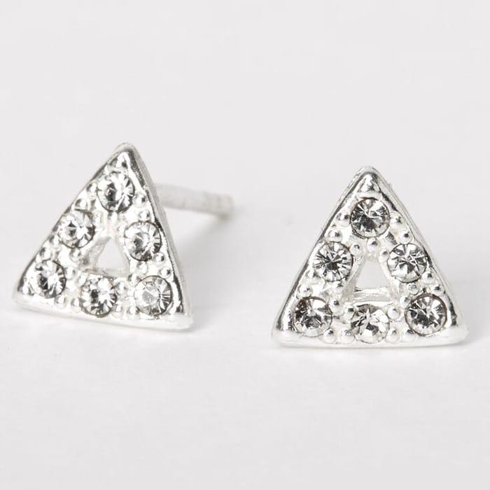 Sterling Silver Crystal Triangle Stud Earrings