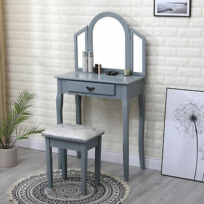 Grey Dressing Table and Stool ( Use 4.40 off Tab to Get This Price )