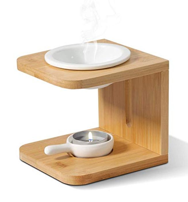 Stylish Wood and Ceramic Oil Burner ( Use Promo Tab to Get This Price )