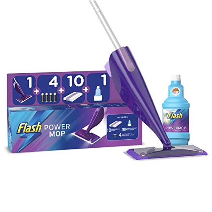 Flash Powermop Starter Kit, Mop + 10 Refill Pads,500ml Cleaning Solution