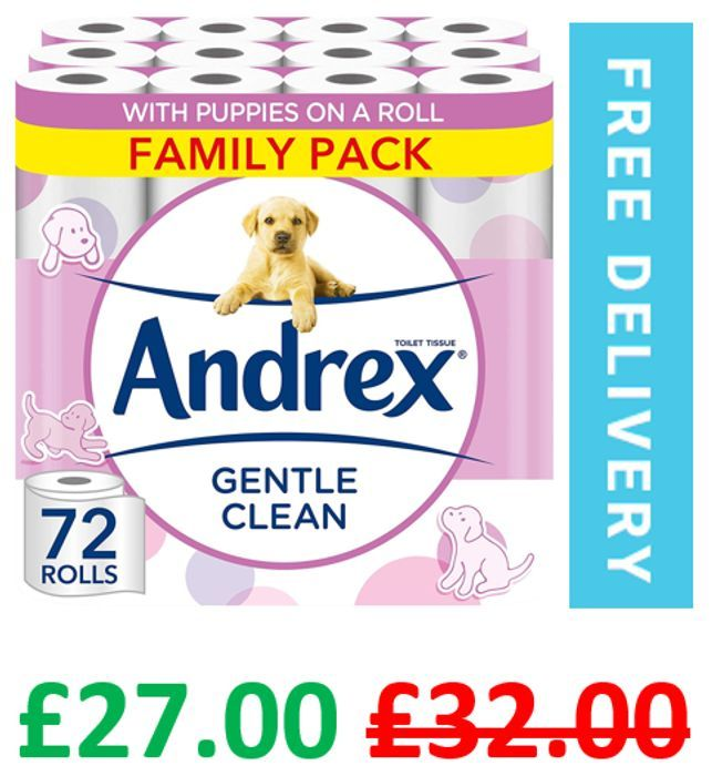 72 Andrex Gentle Toilet Rolls   38p a Roll   + FREE DELIVERY