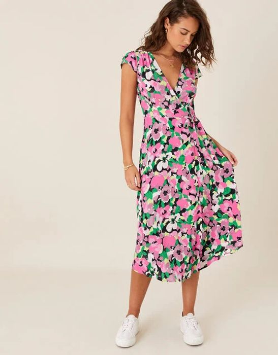 Floral Wrap Dress in Sustainable Viscose Pink