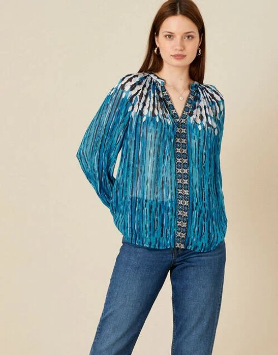 Feather Print Embellished Top Blue