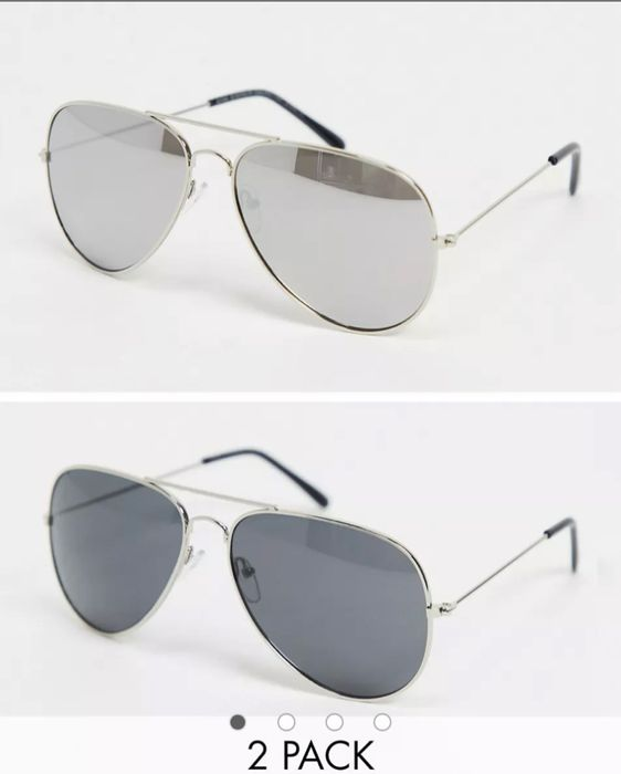 SVNX 2 Pack Avaviator Sunglasses in Silver and Black