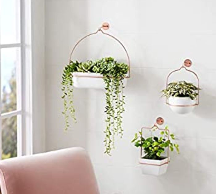 3 Pack of Copper and White Hanging Planters