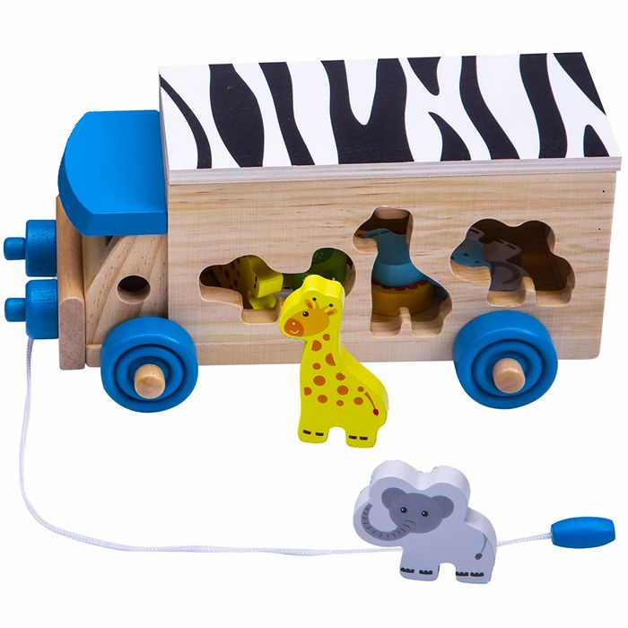 Kids Animal Safari Toy - Wooden Shape Sorter