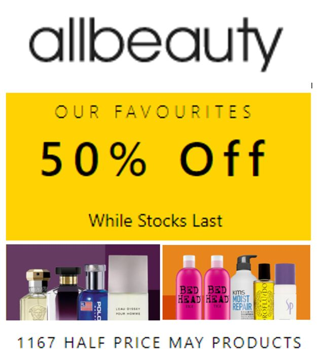 All Beauty HALF PRICE PROMO - 1167 Products - HALF PRICE or LESS