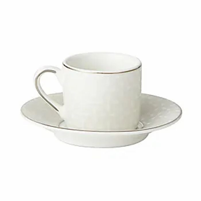 5A Fifth Avenue Grace Silver Pack of 2 Espresso Cup and Saucer