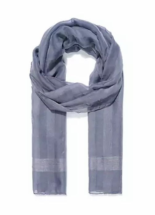 Grey Light Weight Striped Scarf by Intrigue