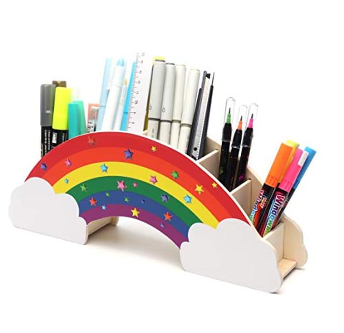 Desk Organiser Rainbow with Star Stickers/ Desk Tidy - DIY