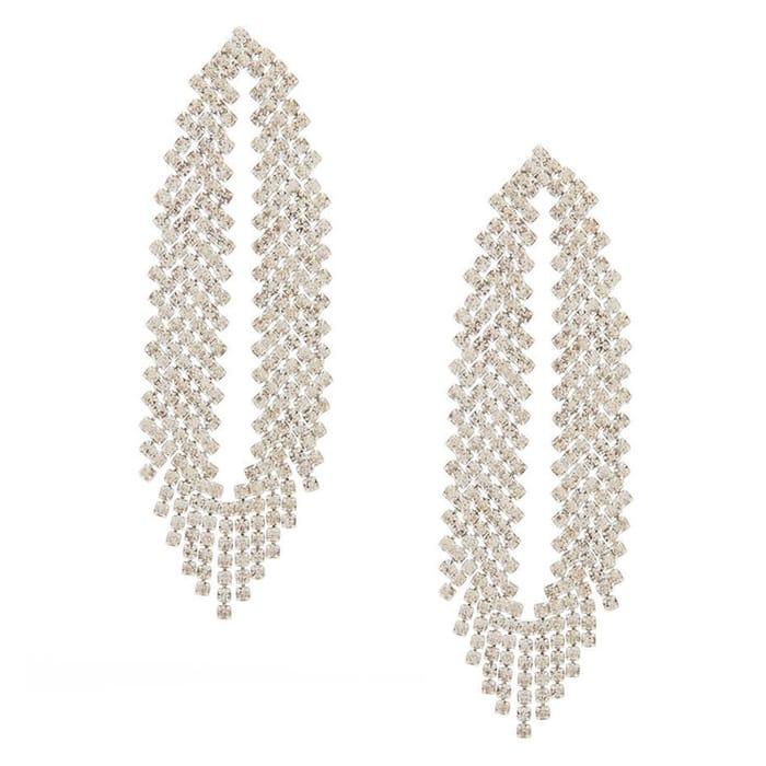 "Silver Rhinestone 2.5"" Feathered Drop Earrings"