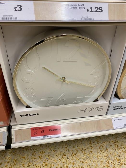 Silver Wall Clock - Half Price