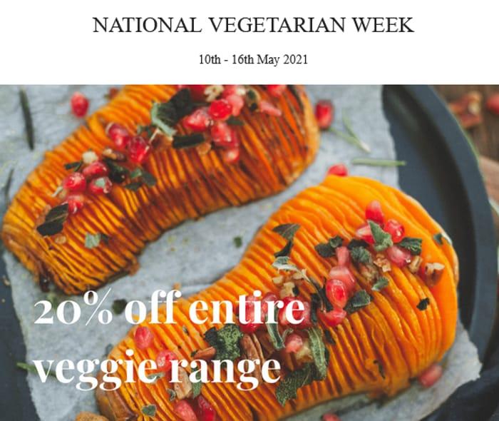 20% off Our Entire Veggie/vegan Range