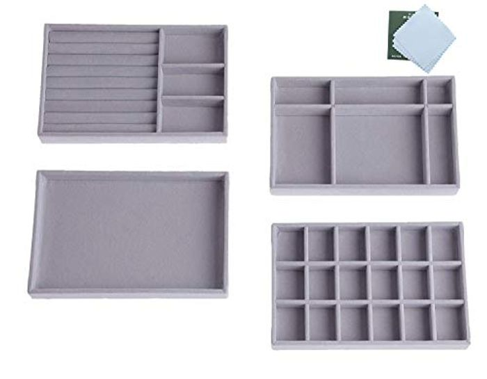 DEAL STACK - Set of 4 Jewellery Storage Tray Organiser + 6% Coupon