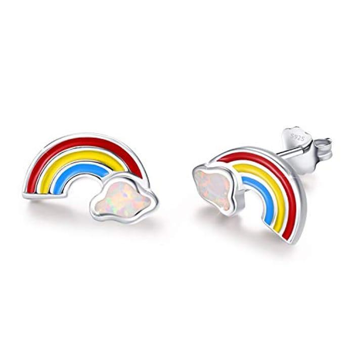 Rainbow Earrings 925 Sterling Silver Opal Earrings