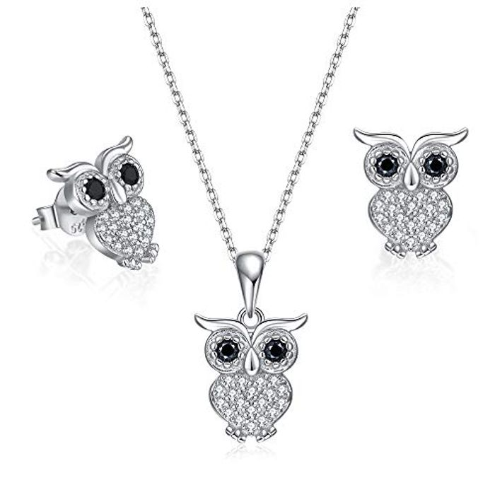 BDD CO. Women Owl Necklace and Earrings Jewellery Set with £10 off Coupon