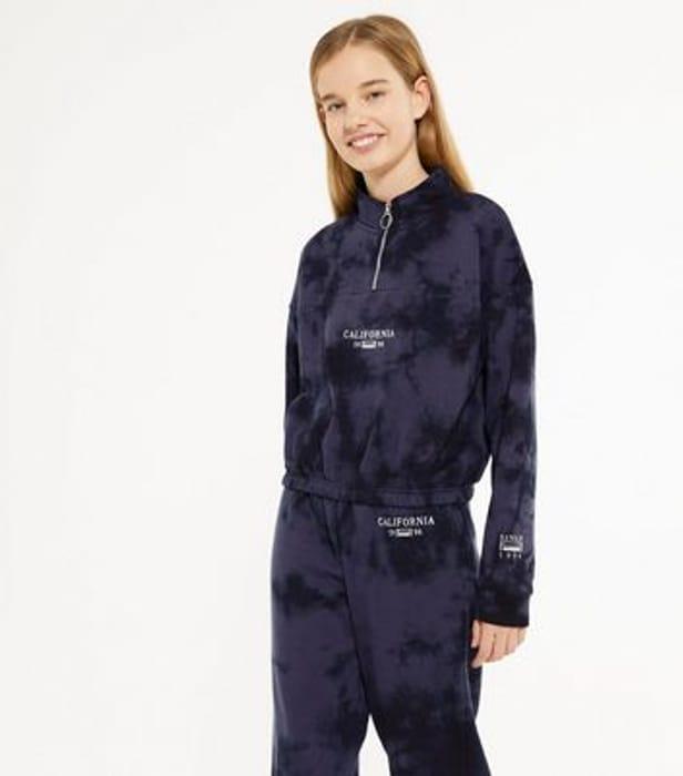 Girls Dark Grey California Logo Tie Dye Sweatshirt Now £9.00 at Newlook
