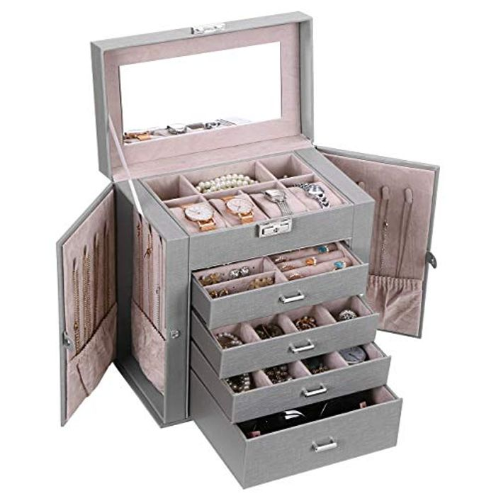 ANWBROAD Jewelry Box with Removable Drawers for Women Large Jewelry Organizer