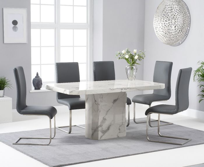Belle 160cm White Marble Dining Table with Malaga Dining Chairs