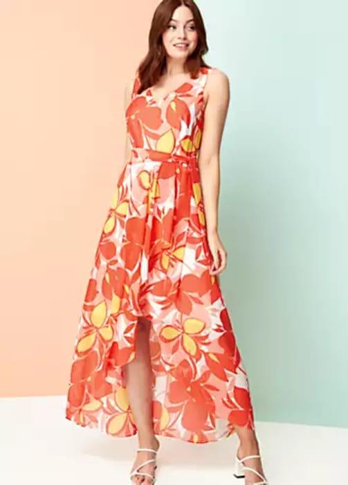 Roman Originals Floral Chiffon Wrap Midi Dress