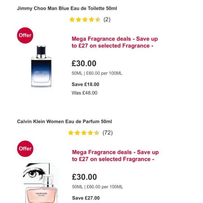 Mega Fragrance Deals save up to £27 on Fragrance /Calvin Klein/Jimmy Choo 50ml