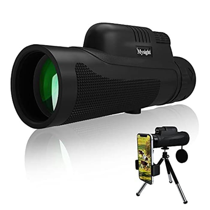 12X50 HD Waterproof Monocular Telescope with Phone Holder and Tripod