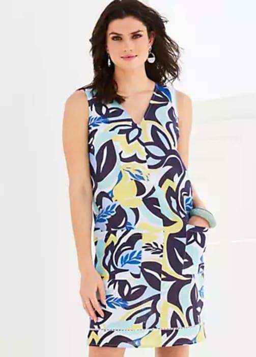 Kaleidoscope Floral Print Sleeveless Linen Sundress