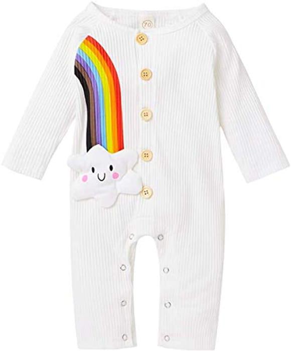 MoccyBabeLee Baby Boy Girls Rompers Rainbow Onesies