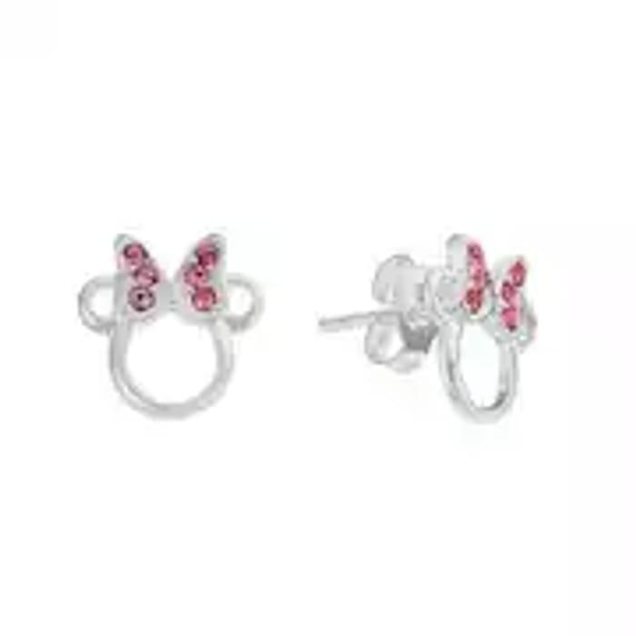 Disney Minnie Sterling Silver Crystal Set Stud Earrings