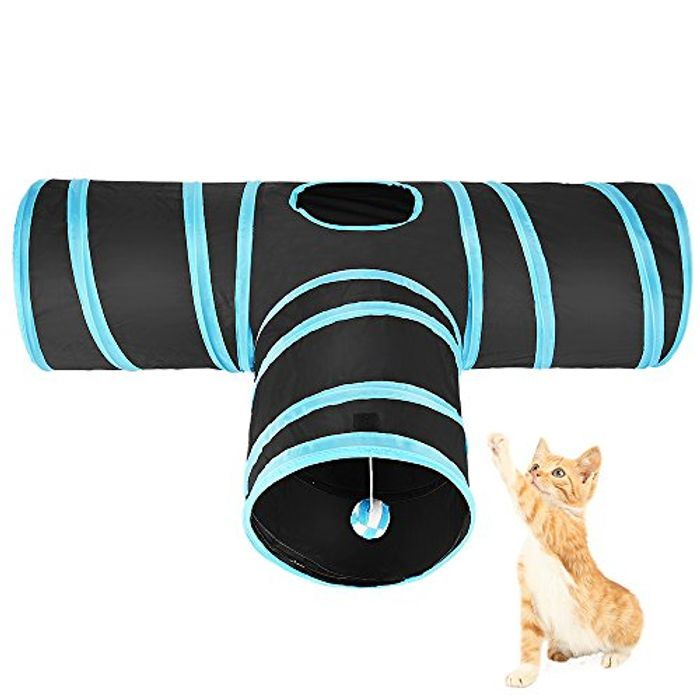 Asiv 3-Way Foldable Play Tunnel with Shaky Ball for Cat - Only £4.23!
