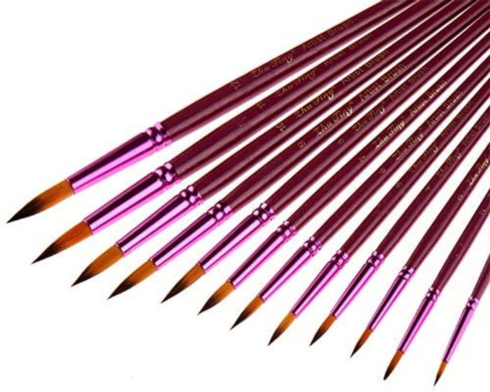 12 Piece Artist Paint Brushes for Acrylic, Watercolor or Oil Painting
