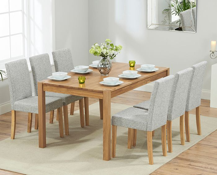 Oxford 150cm Solid Oak Dining Table with Mia Fabric Chairs