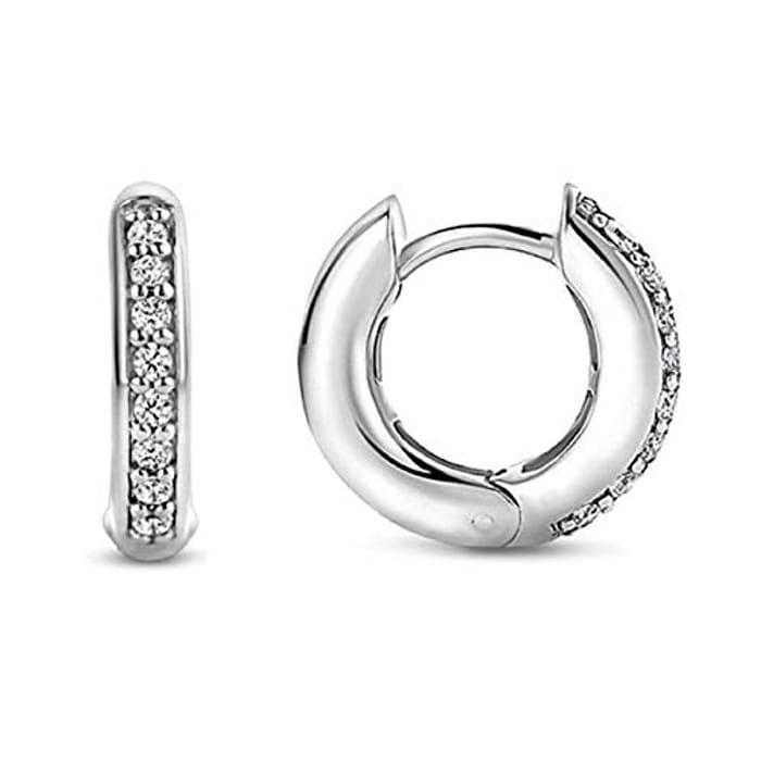 Sterling Silver Rhinestones Hoop Stud Earrings