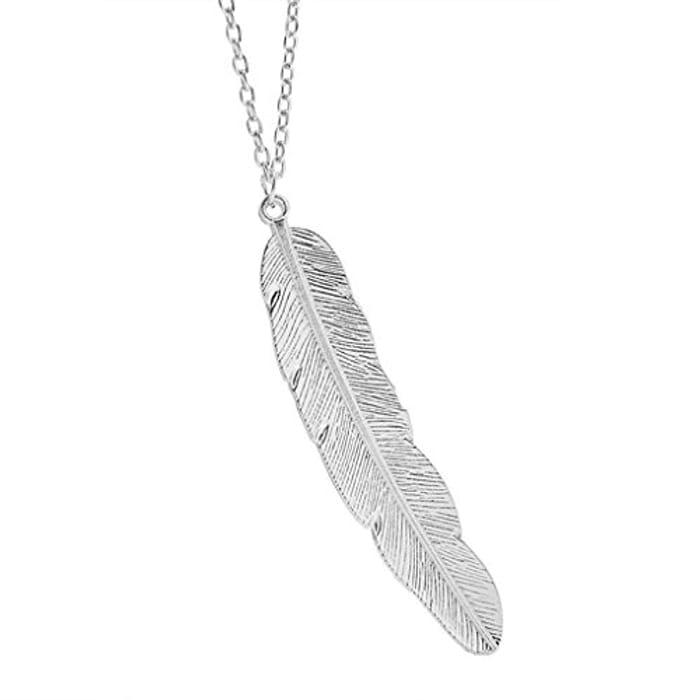 Leaf Feather Design Pendant Necklace