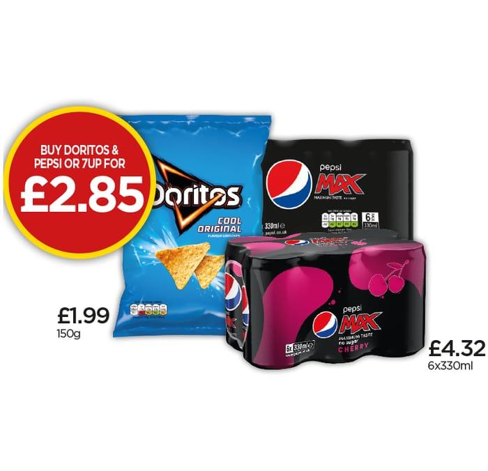 Doritos plus 6 Cans of Pepsi Max/Cherry or 7Up