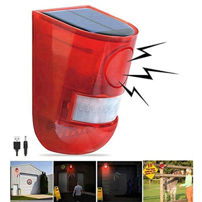 Solar Sound & Light Alarm Motion Sensor - Only £9.95!