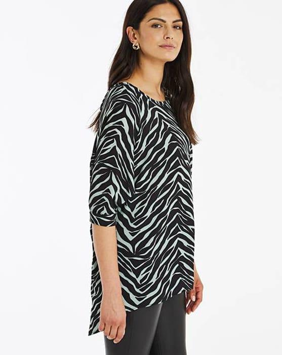 Sage Zebra Print Dipped Back Cocoon Tunic