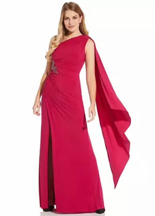 Adrianna Papell Shoulder Jersey Gown