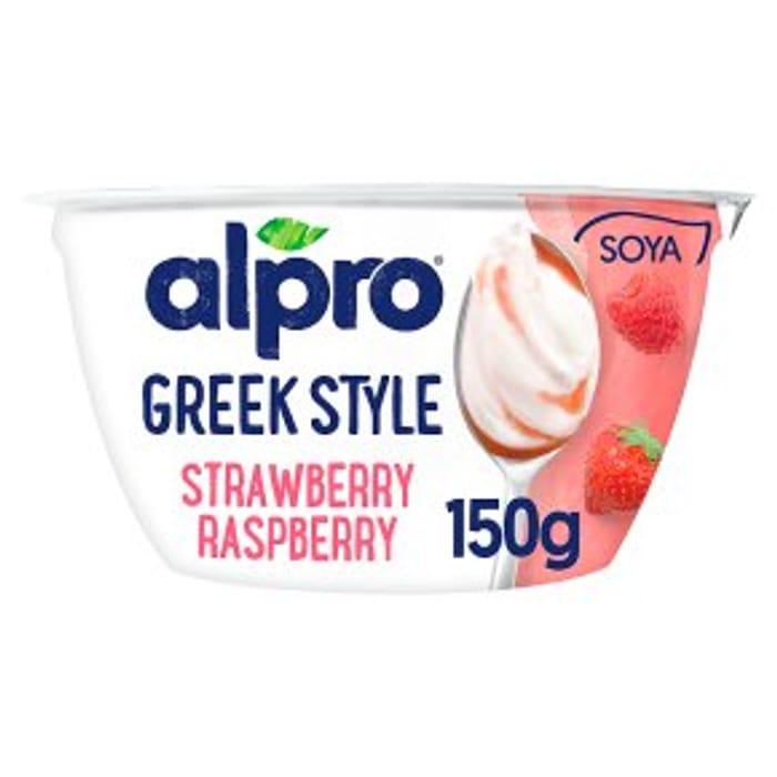 Alpro Greek Style Strawberry Raspberry Yoghurt Alternative 150g