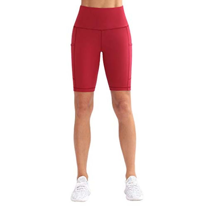 KVIONE Yoga High Waist Workout Shorts with Pockets for Women - Only £2.8!
