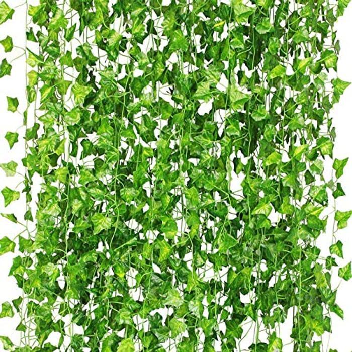 CQURE 12 Pack 84Ft Artificial Ivy Garland