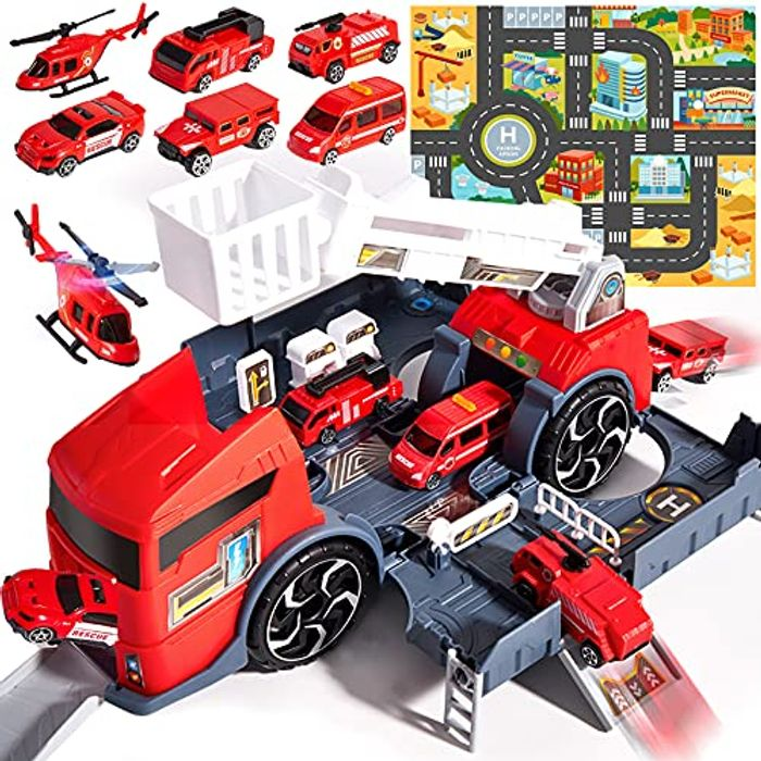 HERSITY Car Garage Transporters Truck with 6Pcs Fire Engine Set - Only £9.46!