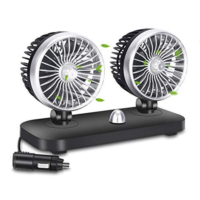UNIQUEBELLA Car Fan with Rotatable Dual Head - Only £13.99!