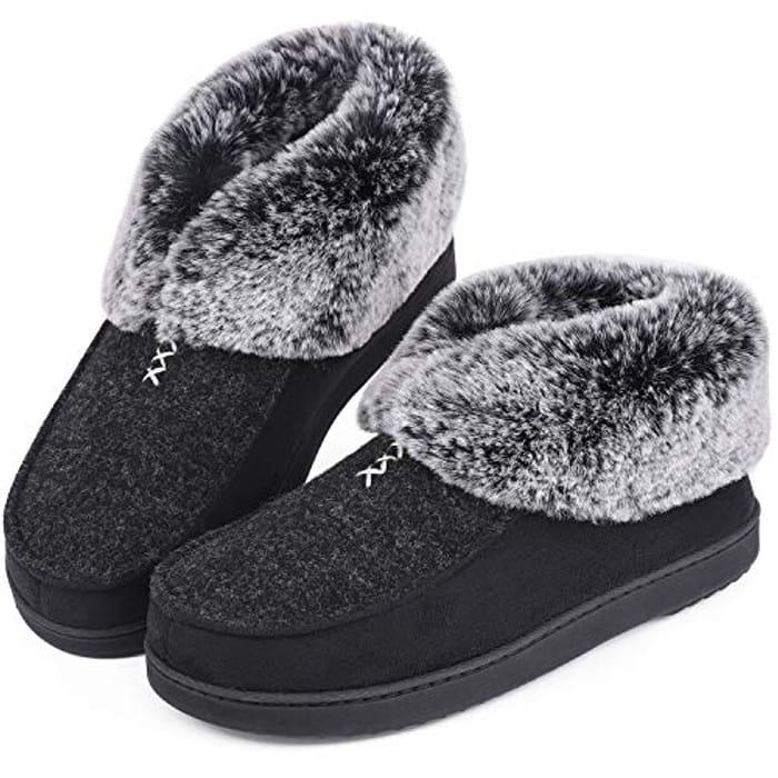 Ladies Ever Foam Fur Trim Slippers
