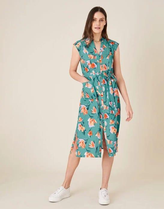 Floral Print Jersey Shirt Dress Blue