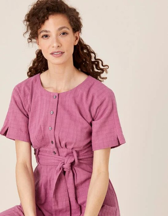 Crosshatch Midi Dress in Pure Cotton Pink