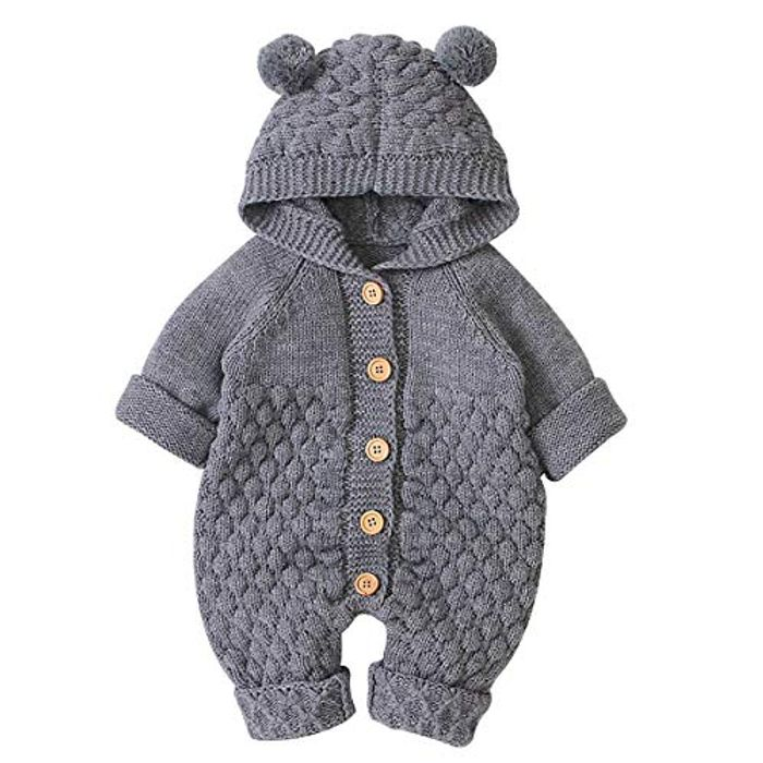 Size 66 Only Grey Knitted All in One ( 3/6 Months )