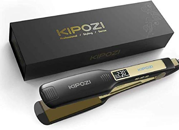 KIPOZI Professional Hair Straighteners Wide Plate Titanium Flat Iron