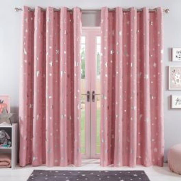 Dreamscene Star Blackout Galaxy Kids Curtains - Blush Pink